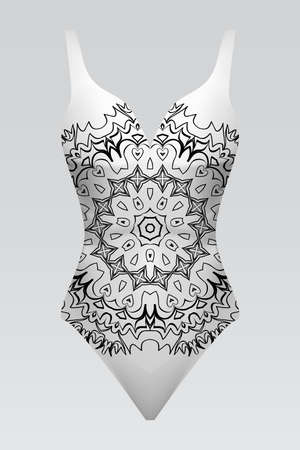 Modern fashion swimsuit. Summer vector illustration with original print floral mandala.