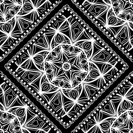 Seamless mandala floral pattern for design. vector Illustration. Black, white. For scrapbooking, wallpaper, cases for smartphones, print, surface texture, pillows, bags. Ilustração