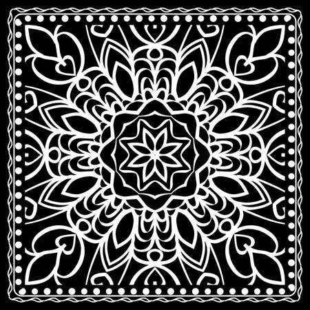 Fashion design Black and white Paisley Bandanna Print with Mandala floral pattern. Vector illustration