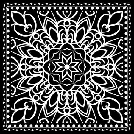 Fashion design Black and white Paisley Bandanna Print with Mandala floral pattern. Vector illustration
