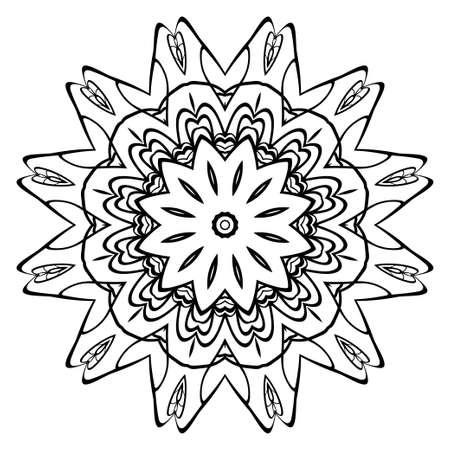 Decorative round ornament. Anti-stress therapy pattern. Hand drawn vector frame design. Vettoriali