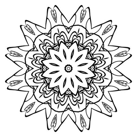 Decorative round ornament. Anti-stress therapy pattern. Hand drawn vector frame design. Vectores