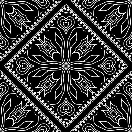 Seamless square border with ornate paisley. Vector illustration, decorative pattern. For scrapbooking, wallpaper, cases for smartphones, print, surface texture, pillows, bags.