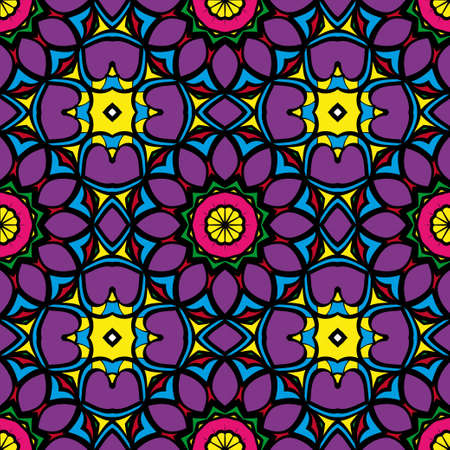 Colorfull Seamless floral pattern. Decorative background. for printing on fabric or paper. vector illustration 免版税图像 - 98891378