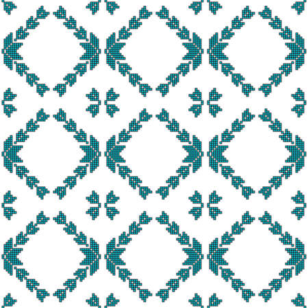 scheme for embroidery Cross stitch pattern for clothing. Mosaic seamless pattern. Ethnic ornament. vector. For embroidery pattern. for the textile industry, home crafts Ilustrace