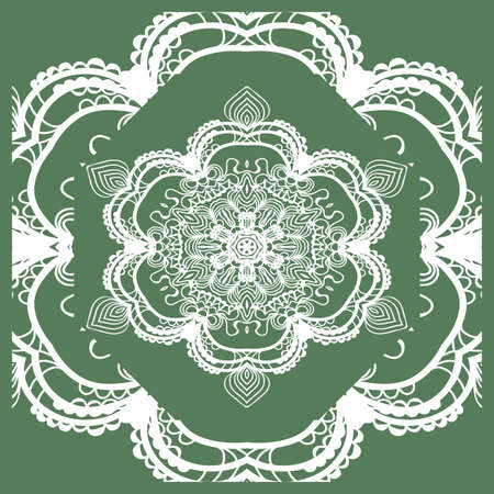 Openwork geometric Pattern for Print. Vector illustration. Green color. Template print for Textile, Fabric, Phone Case