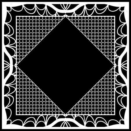 frame with floral lace ornament for fabric design. vector illustration. black, white color 일러스트