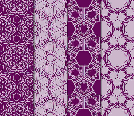 Set of modern pattern of geometric ornament. Seamless vector illustration for interior design, printing, wallpaper and decor in purple color. Illustration