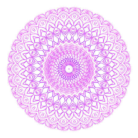 Floral Mandala vector illustration. Ethnic Circle Ornament in purple color. Anti-stress therapy pattern.