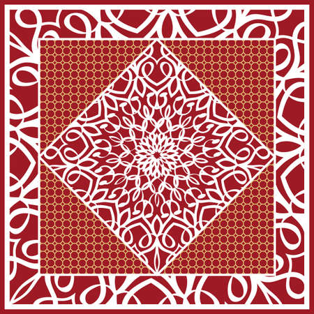 Design of Scarf with Mandala Flower Pattern. Vector illustration. Red color. For Print Bandanna, Shawl, Carpet