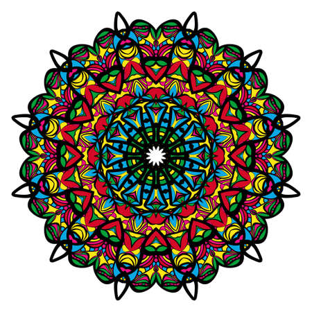Mandala spiritual symbol. Decorative round ornament. Anti-stress therapy pattern. Hand drawn vector Stock Vector - 98912337