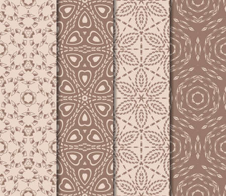 Set of beautiful seamless pattern with transformed geometric shape. Abstract vector illustration design for print, paper, scrapbook in skin tone color.  イラスト・ベクター素材