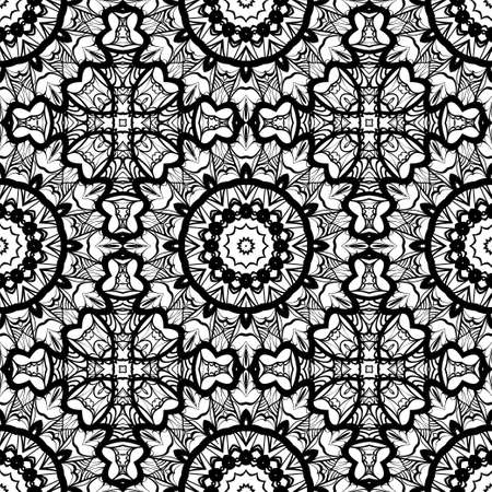 Modern design seamless background floral mandala ornament. Black and white color vector design element for print, fabric, wallpaper.