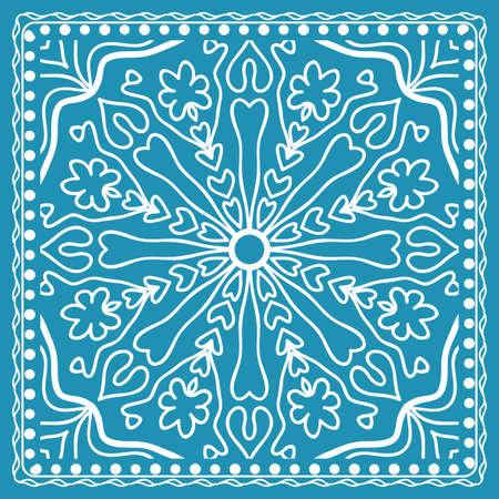 Design of the Silk Shawl Print with Geometric Flower Pattern