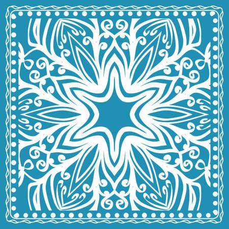 Design of the Silk Shawl Print with Geometric Flower Pattern. Vector illustration. For Print Bandana, Shawl, Carpet.