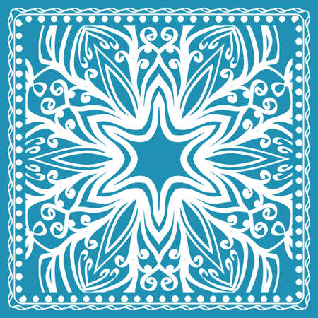 Design of the Silk Shawl Print with Geometric Flower Pattern. Vector illustration. For Print Bandana, Shawl, Carpet.