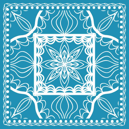 Design of the Silk Shawl Print with Geometric Flower Pattern. Vector illustration in Blue for Print Bandana, Shawl and Carpet. Illustration
