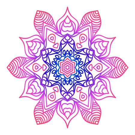 Floral mandala creative anti-stress ornament. vector illustration blue, purple color.