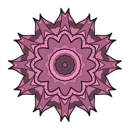 Mandala round ornament design for greeting card. Illustration