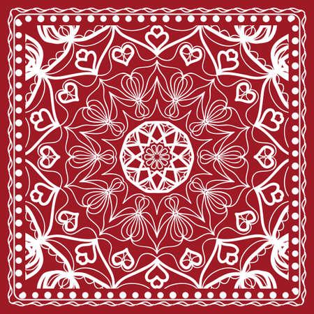 Floral paisley medallion ornamental rug. Ethnic mandala frame. Vintage flower tile. Fabric, greeting card, coloring book, phone case print. Vector illustration. Red color