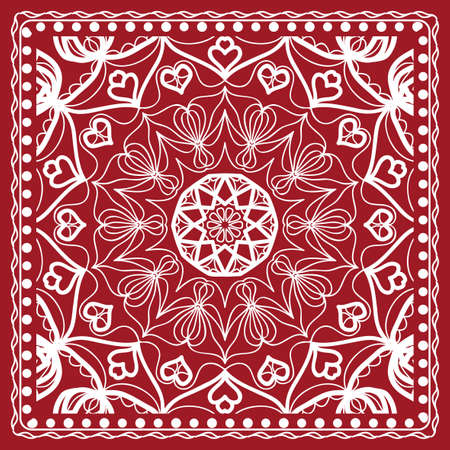 Floral paisley medallion ornamental rug. Ethnic mandala frame. Vintage flower tile. Fabric, greeting card, coloring book, phone case print. Vector illustration. Red color