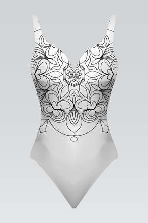 Vector fashion illustration, womens swimsuit with mandala fabric texture. Illustration