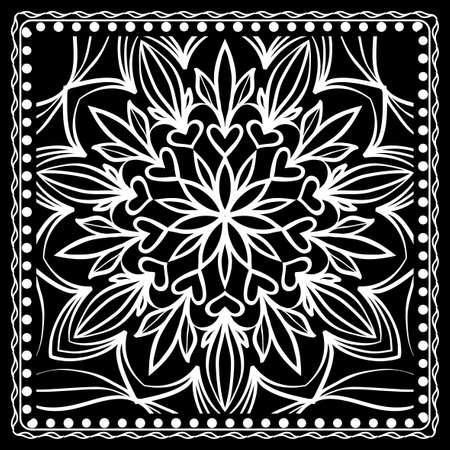 Black and white Paisley Bandanna Print with Floral Pattern. Square pattern design for silk neck scarf, kerchief, pillow, carpet.  イラスト・ベクター素材