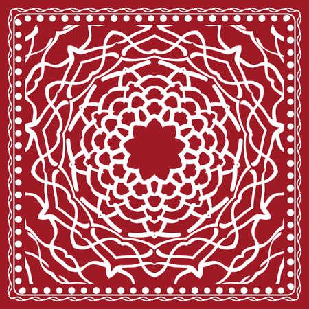 Floral paisley medallion ornamental rug and ethnic mandala frame with vintage flower tile in red color.