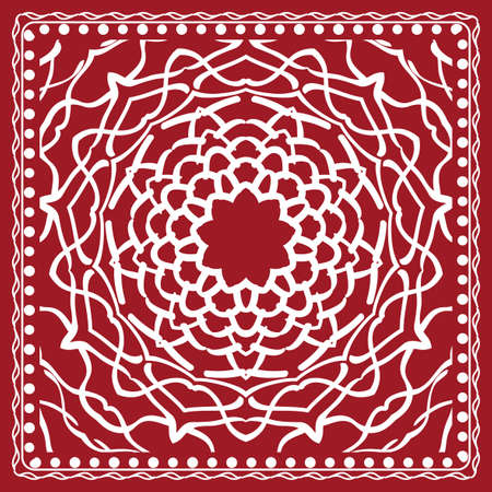 Floral paisley medallion ornamental rug and ethnic mandala frame with vintage flower tile in red color.