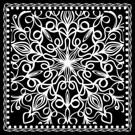 Fashion design Black and white Paisley Bandana Print with Mandala floral pattern. Vector illustration
