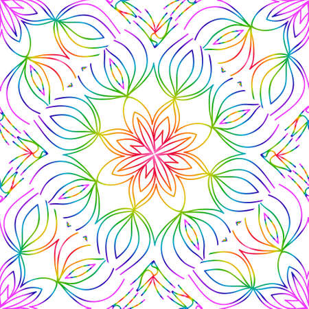 rainbow color seamless pattern with decorative lace flower ornament. vector illustration. for greeting card, invitation, festival flyer, background