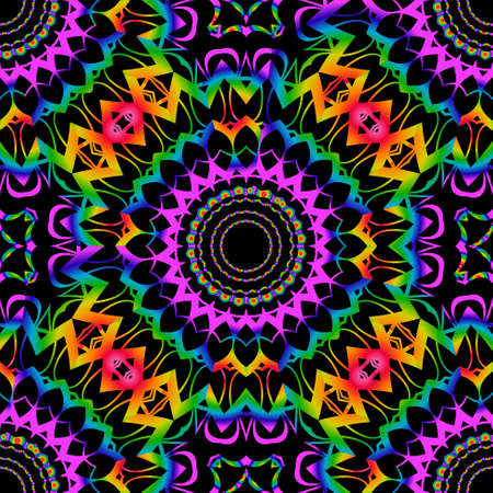 SEAMLESS BACKGROUND with modern design. Floral lace geometric ornament. black, rainbow color. vector. for print, fabric, wallpaper