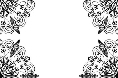 Creative invitation card with mandala elements border. Çizim