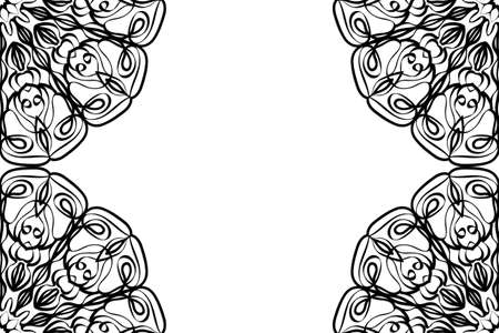 creative invitation card with mandala elements border. black and white color. Çizim