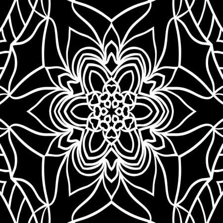 Oriental floral pattern vector illustration. Hand drawn kaleidoscope background.