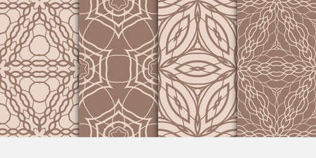 set of fashion geometric floral seamless pattern. Luxury texture for wallpaper, invitation. Vector illustration. coffee color.