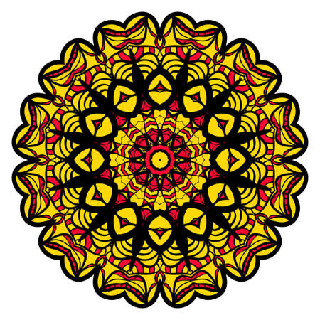 Sun color flower mandala. Energy symbol. vector illustration for greeting card, invitation, tattoo, spa and yoga symbol.