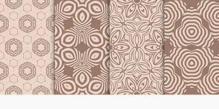 set of geometric pattern in abstract style. Ethnic ornament. Vector illustration. For modern interior design, fashion textile print, wallpaper. beige color 일러스트