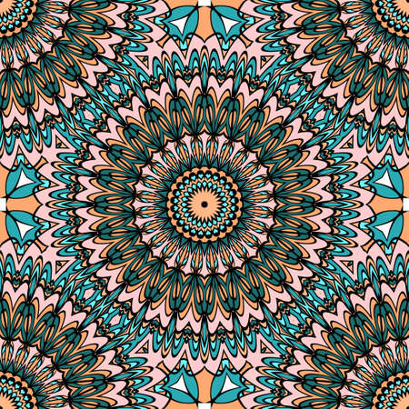 Coloring seamless pattern with flower mandala design. brown, green background. vector illustration