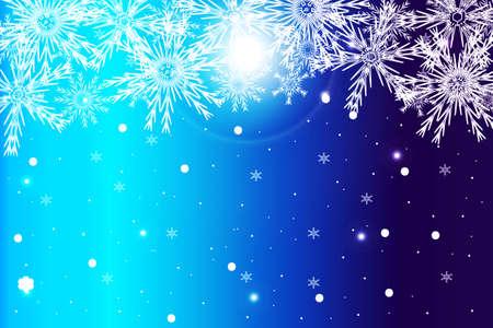 semplice sfondo di Natale blu con fiocco di neve. illustrazione vettoriale