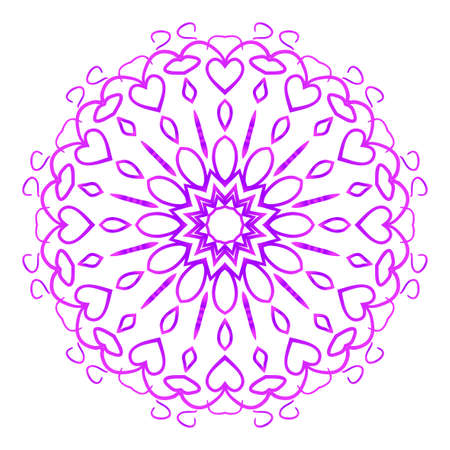 Mandala vector illustration. Ethnic Circle Ornament. Purple color for coloring book, greeting card, invitation and tattoo.