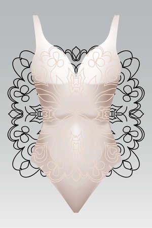 summer swimsuit with modern design beige color mandala ornament.  fashion vector illustration. for design summer cloth. mandala black color background layaer