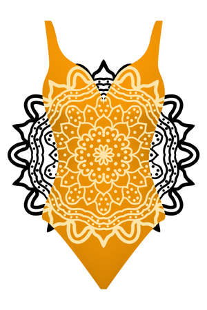 design swimsuit with mandala ornament. fashion vector illustration. orange color