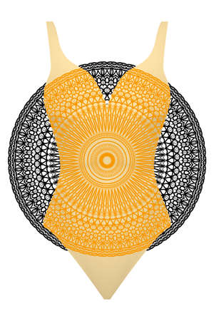 Swimsuit with mandala ornament. Illustration