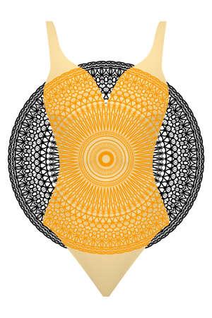 Swimsuit with mandala ornament. 矢量图像