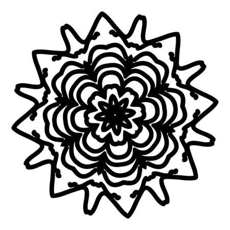 Floral mandala creative anti-stress ornament. Vector illustration black color.