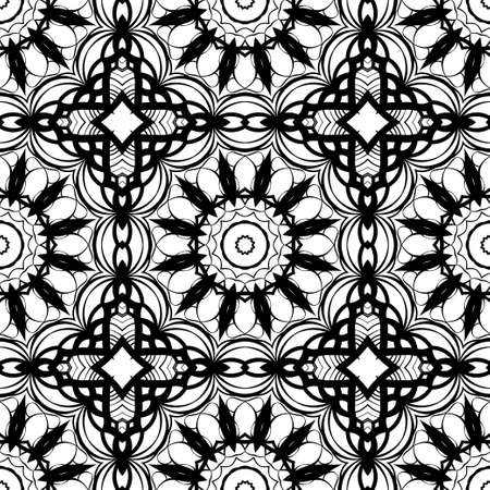 Seamless background with modern design. Floral mandala ornament. black, white color. vector. design element for print, fabric, wallpaper