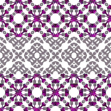 scheme for Cross stitch pattern for clothing, elements of folk embroidery, vector ornament. Vettoriali