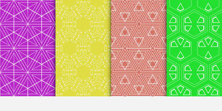 set of 4 geometry seamless pattern. abstract geometry shape triangle, hexagon. vector illustration. modern ornament. For design, wallpaper, background fills, card, banner, flyer. color Ilustrace