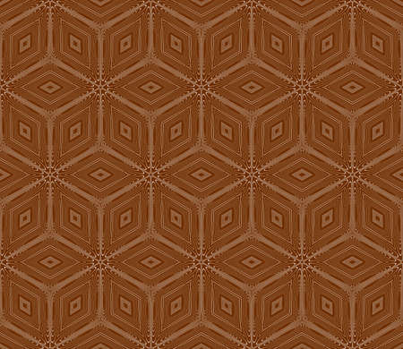 Virtual 3d cube. seamless vector pattern. Interior decoration, wallpaper, presentation, pattern fills and fashion design in chocolate color.